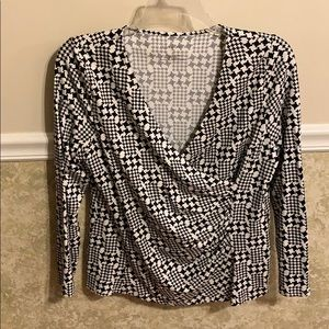 Talbots Black and White Long Sleeve Blouse